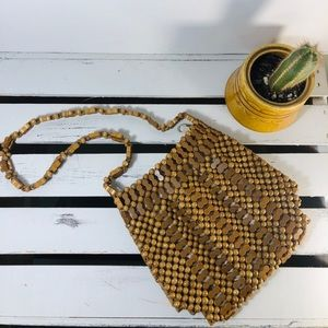 Vintage! Wooden Beaded Handbag